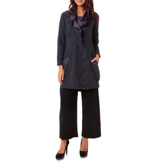 Moss�e Women's Navy Satin-trim Raincoat Jacket