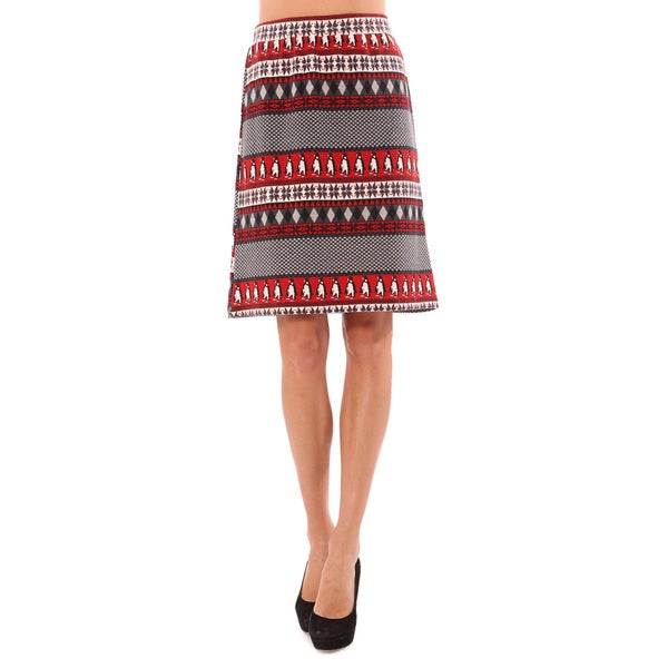 Mosse Women's Red Double Knitted Pencil Skirt