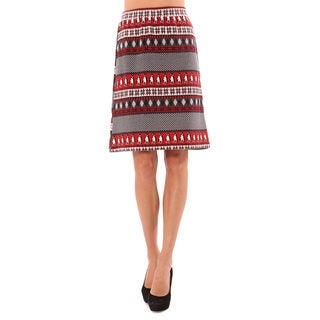 Mossée Women's Red Double Knitted Pencil Skirt