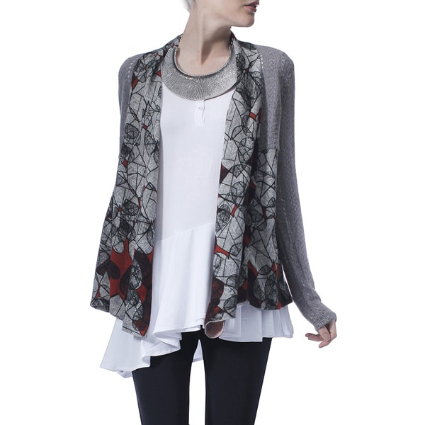 Mossee Women's Grey Geometric Scribbles Knitted Cardigan