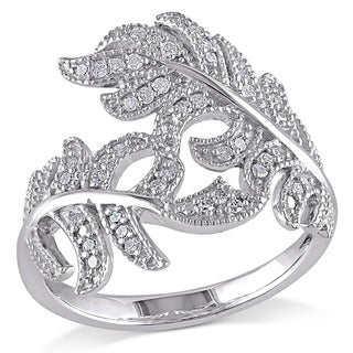 Haylee Jewels Sterling Silver 1/5ct TDW Diamond Flower Leaf Ring (H-I, I2-I3)