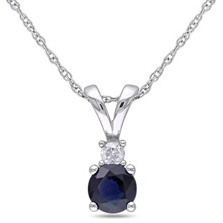 Miadora 10k White Gold Sapphire and Diamond Accent Necklace
