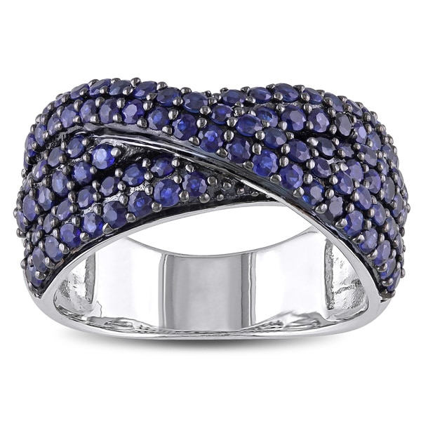 Miadora Sterling Silver Sapphire Cross Over Ring