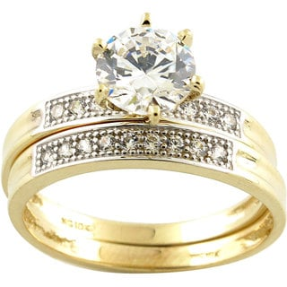 10k Yellow Gold Cubic Zirconia Solitaire Bridal Set