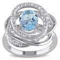 Miadora Sterling Silver Blue Topaz and White Topaz Flower Ring