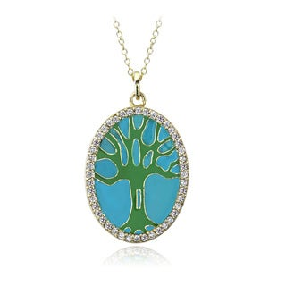 Icz Stonez 18k Gold Over Sterling Silver Cubic Zirconia and Enamel Tree of Life Necklace