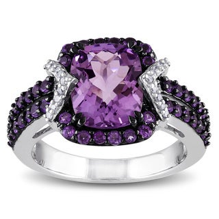 Miadora Sterling Silver Amethyst and 1/6ct TDW Diamond Ring (H-I, I2-I3)