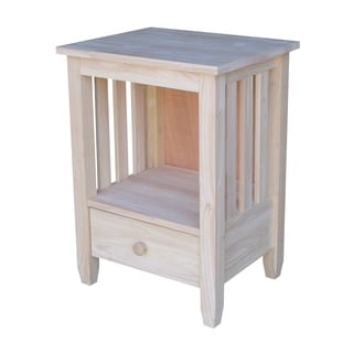 Unfinished Solid Parawood Mission Single-drawer Tall End Table