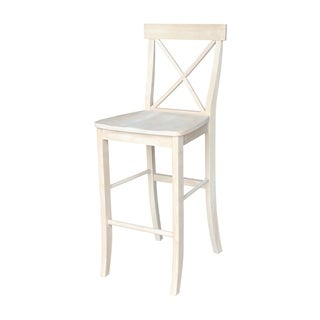 Unfinshed Solid Parawood X-back Stool