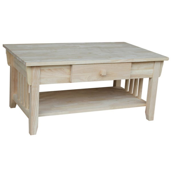 unfinished solid parawood mission coffee table 16555033