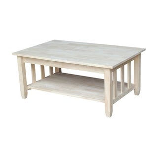 Unfinished Solid Parawood Mission Tall Lift-top Coffee Table