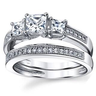 Oliveti Sterling Silver Princess-cut Past Present Future Cubic Zirconia Ring Set