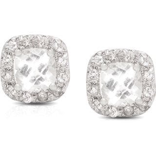 Dolce Giavonna Sterling Silver White Topaz Square Stud Earrings