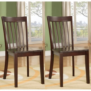 Warm Cherry Slat-back Wooden Dining Chairs (Set of 2)