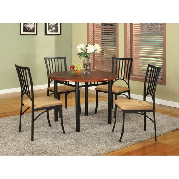 walnut wood and antiqued black bronze metal 5 piece casual dining set