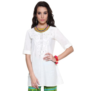 Global Desi Women's Boho Floral Embroidered Tunic (India)