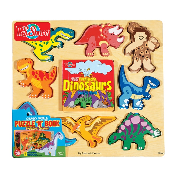Chunky World Dinosaur Chunky Wooden Puzzle and Book