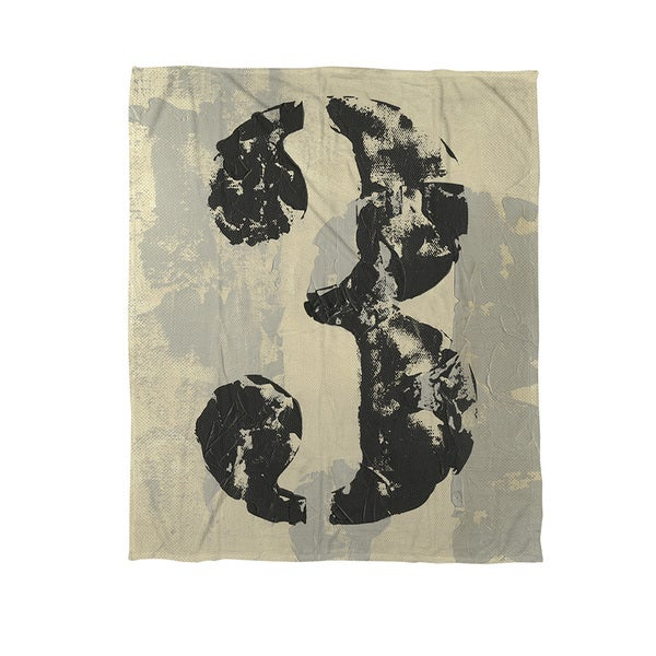 Thumbprintz Vintage Numbers III Coral Fleece Throw