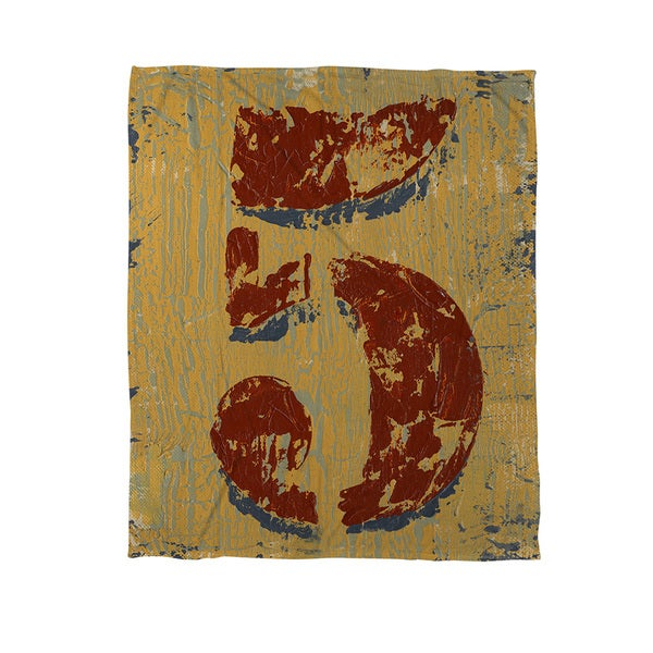 Thumbprintz Vintage Numbers V Coral Fleece Throw