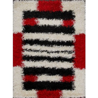 White and Red Abstract Patterned Shag Rug (3.9' x 5.9')