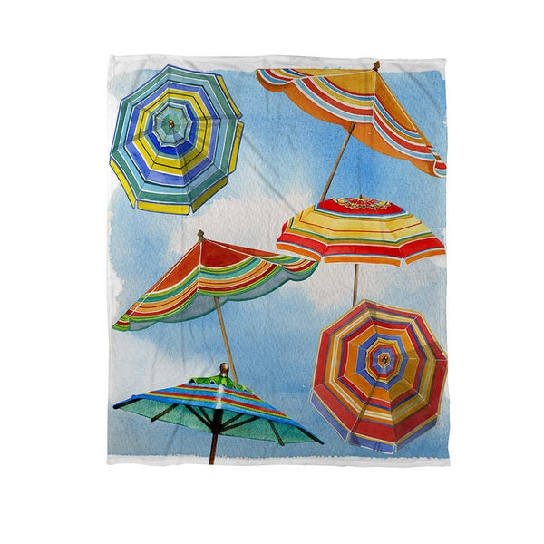 Thumbprintz Blue Skies Umbrellas Coral Fleece Throw