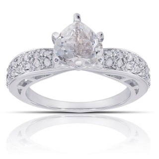 Dolce Giavonna Sterling Silver 1/4ct TDW Diamond and White Topaz Engagement Style Ring (I-J, I2-I3)