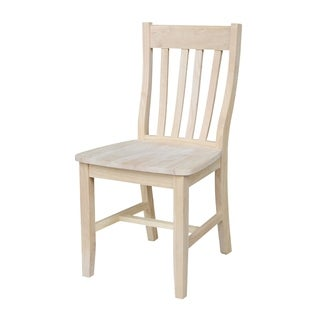 Unfinished Solid Parawood Cafe Dining Chairs (Set of 2)