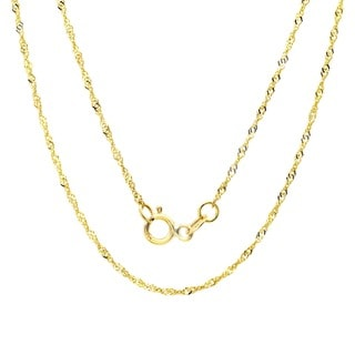 Sterling Essentials 14k Gold 14-inch Singapore Necklace