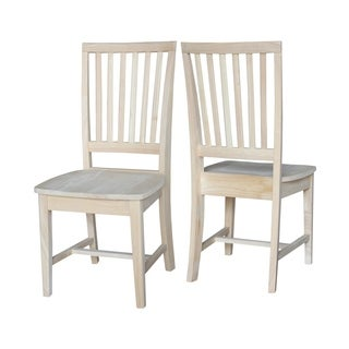 Unfinished Solid Parawood Mission Side Dining Chair (Set of 2)