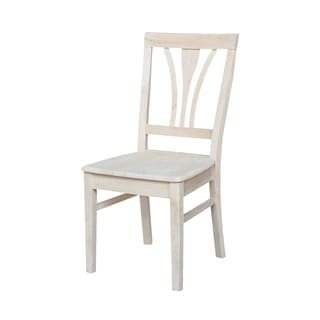Unfinished Solid Parawood Fanback Dining Chair (Set of 2)
