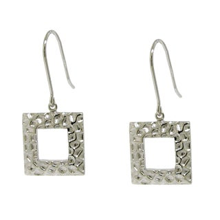 Gioelli Sterling Silver Square Hammered Dangle Earrings