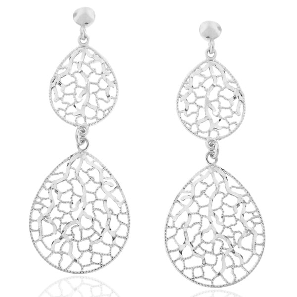 Gioelli Italian Sterling Silver Drop Shaped Cut-out Dangle Earrings
