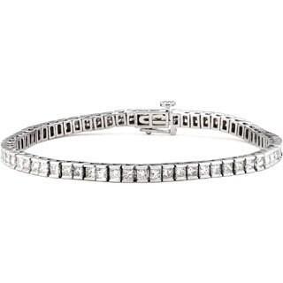 14k White Gold 4ct TDW Princess-cut Diamond Tennis Bracelet (G-H, SI2)