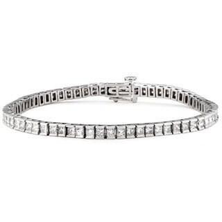 14k White Gold 4ct TDW Princess-cut Diamond Tennis Bracelet (G-H, SI1-SI2)