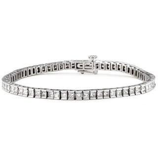 14k White Gold 3 1/4ct TDW Princess-cut Diamond Tennis Bracelet (H-I, I1)