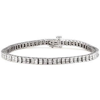 14k White Gold 5ct TDW Princess-cut Diamond Tennis Bracelet (G-H, VS1-VS2)