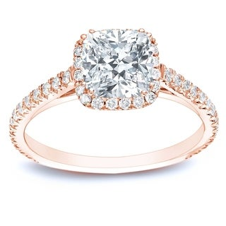 Auriya 14k Rose Gold 1 3/4ct TDW Certified Cushion Diamond Engagement Ring (H-I, SI1-SI2)