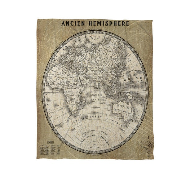 Thumbprintz French World Map II Coral Fleece Throw