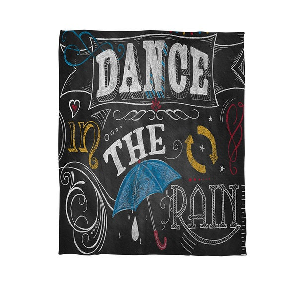 Thumbprintz Chalkboard Dance in the Rain Coral Fleece Throw