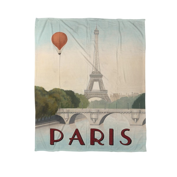 Thumbprintz City Skyline Paris Coral Fleece Throw