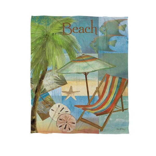 Thumbprintz Beach Memories B Coral Fleece Throw
