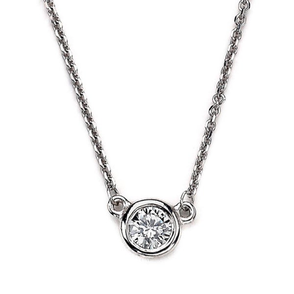 Diamonds For A Cure 14k White Gold Bezel Round Solitaire Diamond Necklace