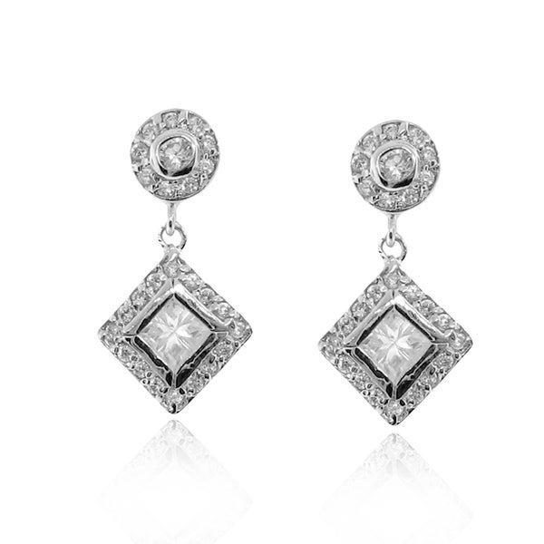 Gioelli Sterling Silver Cubic Zirconia Drop Earrings
