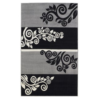 Capri Black/ Grey Area Rug (4'3 x 7'3)