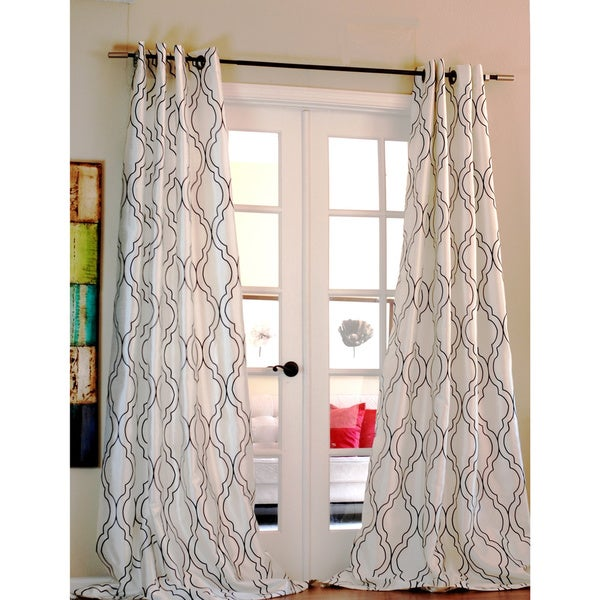 Amal Moroccan Flocked Faux Silk Curtain Panel