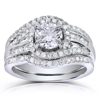 Annello 14k White Gold 1 1/3ct TDW Round-cut Halo Diamond 3-piece Bridal Ring Set (H-I, I1-I2)