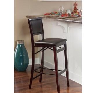 Oh! Home Ciara Folding Counter Stool, Dark Brown Padded Back