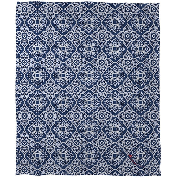 Thumbprintz Winter Garden Baroque White on Navy Coral Fleece Throw