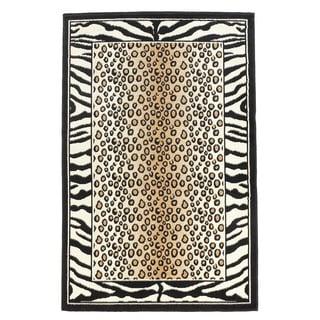 Linon Capri Black/ White Area Rug (4'3 x 7'3)