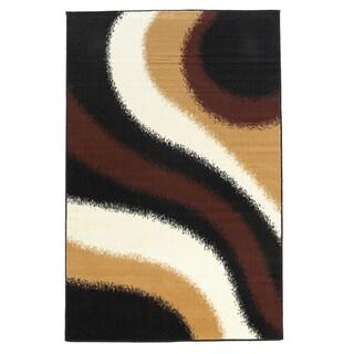 Linon Capri Black/ Brown Area Rug (4'3 x 7'3)
